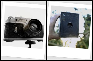 A collage of old camera's