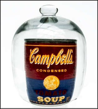 Creamy Campbell's Soup in a jar. Framed.
